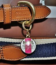 Coach Heritage Brown Leather Dog Collar Nylon Leash Set Pink Charm size Medium