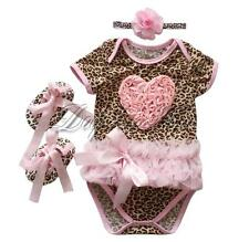 Newborn Baby Girls Leopard Romper+Headband+Shoes Outfit Sets Clothes 0-12 Months