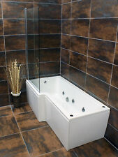 Vicky L Shaped Showerbath with 6 Jet Whirlpool Jacuzzi Spa System Inc Screen