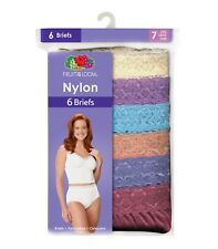 Fruit of the Loom Women's White or Assorted Nylon Briefs 6 or 12 Pack Size 6-10