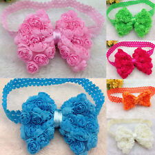 Baby Girl Lovely Hair Bows Lace Flower Bands Headbands Headwear Photo Props