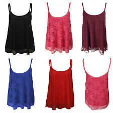 NEW WOMENS LADIES FLORAL LACE MESH SWING STRAPPY LINED CAMI VEST TOP SIZE 8-20