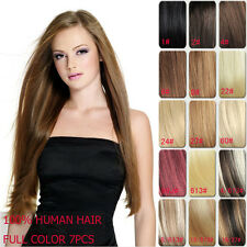 Clip In Human Hair Extension Full Head 15inches Remy Hair Extension 9 Colors