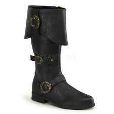 Black Pirate Captain Medieval Knight King Henry Mens Costume Boots size 9 10 11