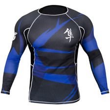 Hayabusa Metaru 47 Long Sleeve Rashguard (Black/Blue) - bjj ufc mma