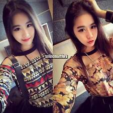Vintage Womens Ladies Floral Shirts Blouse Tops Mesh Splicing Loose T-Shirt ONMF