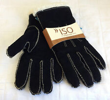 Womens Gloves Winter Women 100% Genuine Leather Suede Lined Warm Isotoner Black