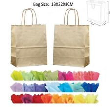 10 Gold Paper Gift Bags With Tissue Paper - Recyclable Twist Handle Party Bag
