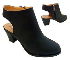 LADIES WOMENS BLOCK OPEN HEEL BACKLESS CUT OUT BACK SHOES ANKLE BOOTS ZIP CASUAL