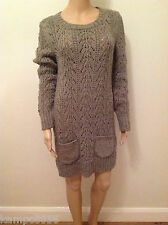 New M&S Brown Mole Chunky Cable Knit Mohair Wool Blend Jumper Dress Sz 10 & 12