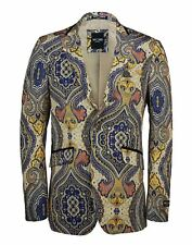 Mens Yellow Blue Paisley Printed Italian Designer Suit Jacket Fitted Blazer