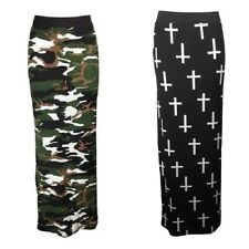 WOMENS LADIES ARMY CAMOUFLAGE HOLLY CROSS PRINT STRETCH BODYCON LONG MAXI SKIRT