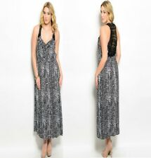 LD16 Ladies Black Summer Beach Long Maxi Evening Party Plus Animal Print Dress