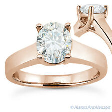 Oval Cut Moissanite 4-Prong Trellis Solitaire Engagement Ring in 14k Rose Gold