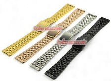 18mm or 20mm New Stainless steel Bilateral press Clasp WatchBands Strap Bracelet