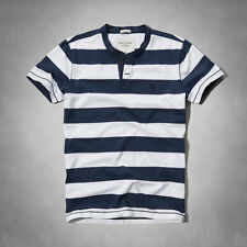 NWT Mens ABERCROMBIE and FITCH Hollister Millers Falls Henley T- Shirt SM, MED