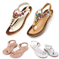 New Ladies Flat Toe Post Shoes Womens Flip Flops Boho Sandals Summer Beach