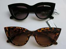 Cat Eye Sunglasses Leopard Black PinUp 50s Rockabilly Cats Large Thick Frame Cat