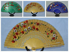 Spanish flamenco Gold wooden hand fans eventails fächer ventagli abanicos Spain
