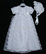 Baby Girls White or Ivory Lace Diamante Christening Gown & Bonnet  0-6 6-12 Mth