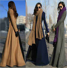 Popular Winter Wool Blend Trench Coat Slim Sexy Outwear Coat Long Maxi Dress