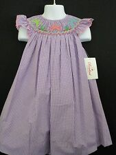 NEW PURPLE GINGHAM STARFISH SMOCKED ANGEL WING BISHOP BOUTIQUE