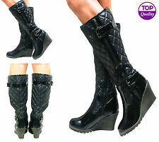 LADIES WOMENS KNEE HIGH QUILTED BUCKLE WEDGE HEEL PADDED BOOTS WINTER SIZE