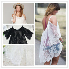 Vintage Hippie Boho People Embroidery Floral Lace Crochet Mini Party Dress Tops
