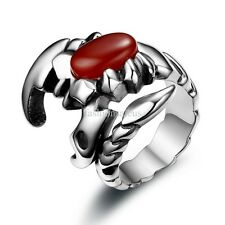 New Vintage Scorpion w/ Red Fauxy Agate Stainless Steel Ring Mens Band Size 6-11