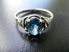 S187 Sterling Silver Filigree Ring 1 carat Natural Dark Blue Topaz Gemstone