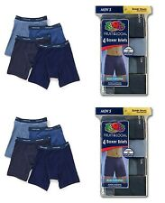 NEW FRUIT OF THE LOOM Men's 8-pack Boxer Briefs BLUES COLLECTION S, M, L, XL