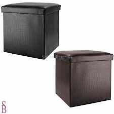 Small Crocodile Leather Effect Ottoman - Storage Unit Blanket Box Stool
