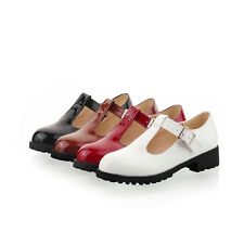 Womens T Strap Bar Leather Flat Girl Mary Jane Pump work Comfort shoes