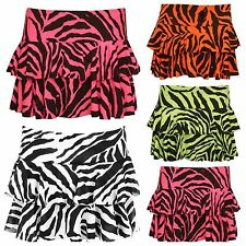 WOMENS ZEBRA ANIMAL PRINT BLACK WHITE  STRETCH RARA SHORT MINI SKIRT SIZE 8-14