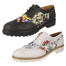 Ladies F9766S Floral Lace-Up Brogues in Black or White by Spot On - RRP £29.99