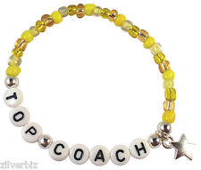 TOP COACH Glass Seed Bead Elastic Star Charm Bracelet Letter Beads 9 Colours