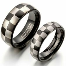 1PC 8mm/6MM Polished Tungsten Ring Dome Laser-etched Checkered Couple's Band