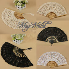 Lady Handmade Lace Cotton Hand Fan Bridal Wedding Party Party Decoration W