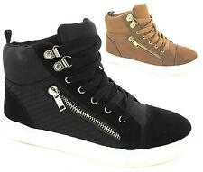 GIRLS FLAT HI HIGH TOP TRAINER SPORT ANKLE BOOTS LACE UP TRAINERS SHOES SIZE 3-8