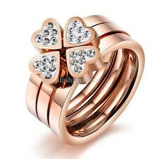 3 in 1 Luxury Stainless Steel Rings CZ Heart Womens Wedding Band Rose Gold Tone