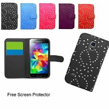 Floral diamond bling Flip leather Wallet case cover For Samsung Galaxy & iphone