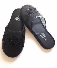 """Chinese Mesh Slippers w/ Floral Designs Sequins Sizes 6-11 """"BLACK"""""""