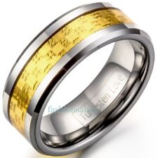 8mm Grooved Gold Plated Polished Comfort Fit Band Tungsten Carbide Men's Rings