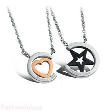 Stainless Steel Chain w/ Star &Heart Pendant Men's Women's Lover's Necklaces