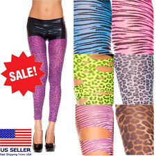 Animal Print Cat Tiger/Leopard Sheer Dance Raver Costume Slim Spandex Leggings