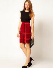 KAREN MILLEN Dress Size 2 10 Red Black Check Bodycon Bandage Knit Stretch Pencil