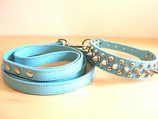 PU Leather Spiked Dog Collar and Leash Set 4 Medium, Small Dog, Pink, Blue, Red