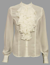 BNWT  IVORY FRILLY BLOUSE SIZES 10,12,14,16,18,20 * FRILLY TOP * RUFFLE, WHITE