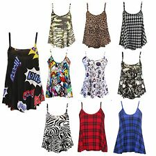 Womens Ladies Cami Sleeveless Swing Vest Top Strappy Printed Flared Plus Sizes
