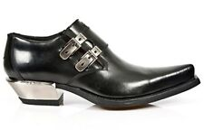 NEWROCK New Rock 7934-S1 Metallic Black Leather Buckle West Steel Heel Shoes
